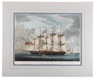 Hand-colored aquatint, War of 1812 at sea