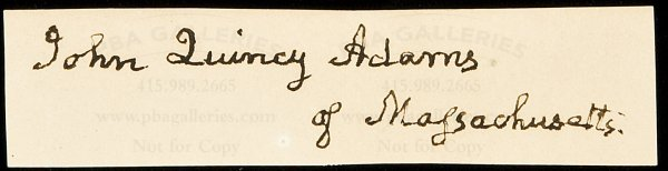 2: John Quincy Adams clipped signature