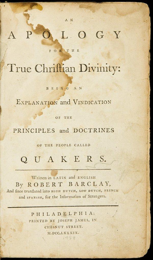 7: Barclay's Apology Philadelphia 1789