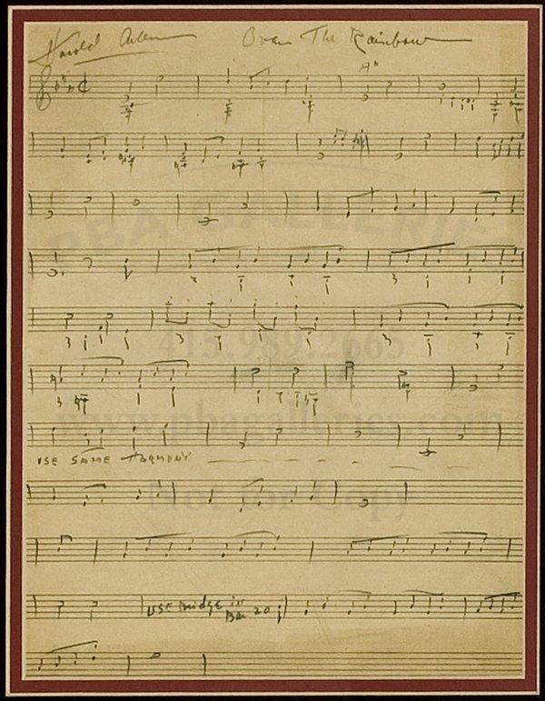 10: MS. of Harold Arlen's Over the Rainbow score