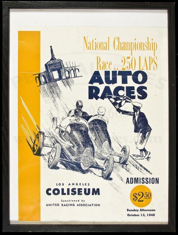 11: Poster for autor race at L.A. Coliseum 1946