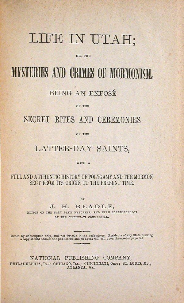 16: J.H. Beadle Life in Utah 1870