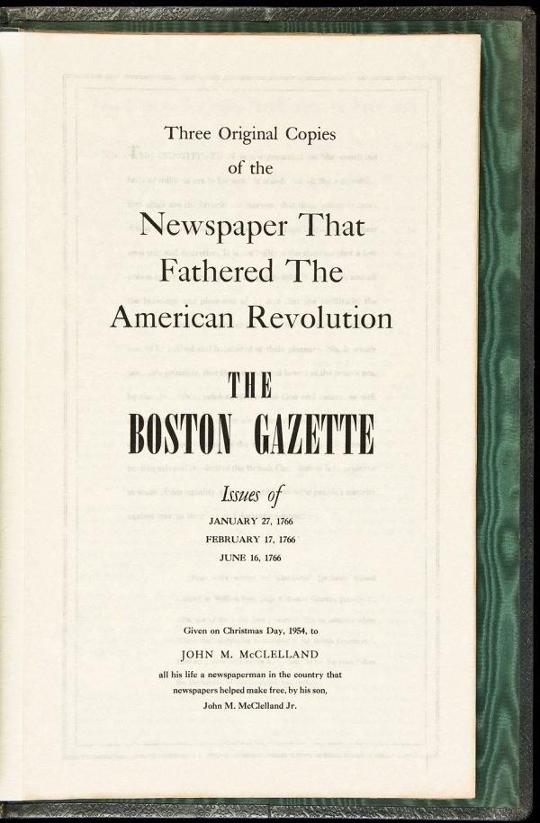25: Three copies of 1766 Boston Gazette in folder