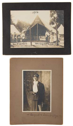Two photographs of Augusta C. Bainbridge 1906