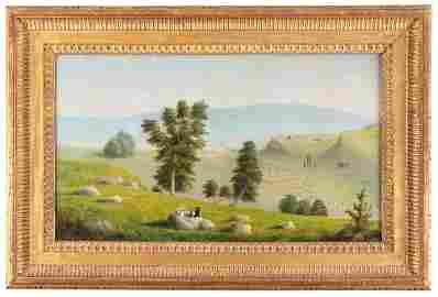 Early oil painting of Santa Barbara, California