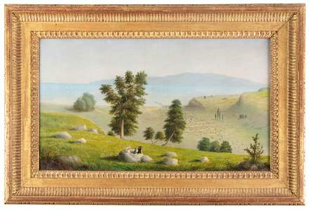 Early oil painting of Santa Barbara, California