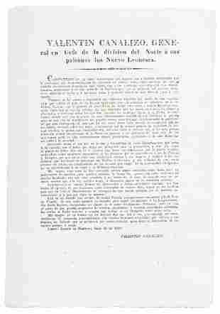 Broadside from Mexican general & future president, 1839