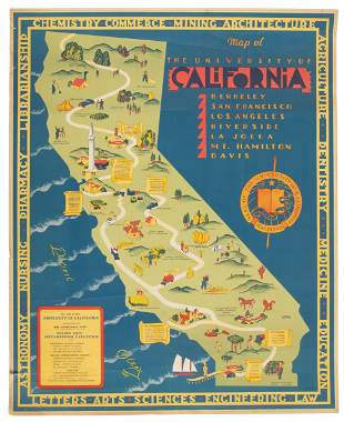 Cartograph of the University of California campuses