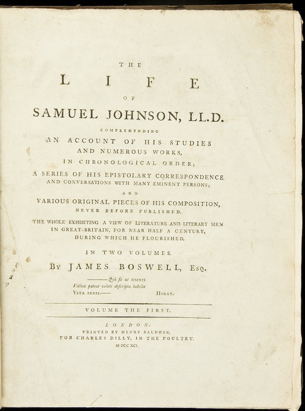 16: Boswell's Life of Samuel Johnson, First Edition