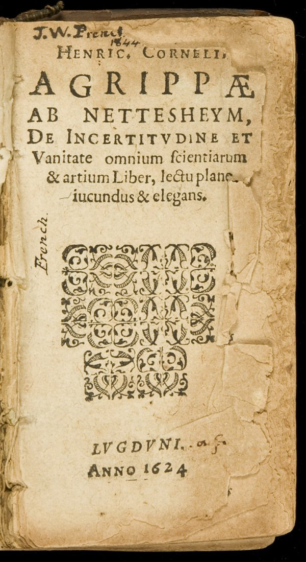 4: Agrippa, De Inertitudine 1624