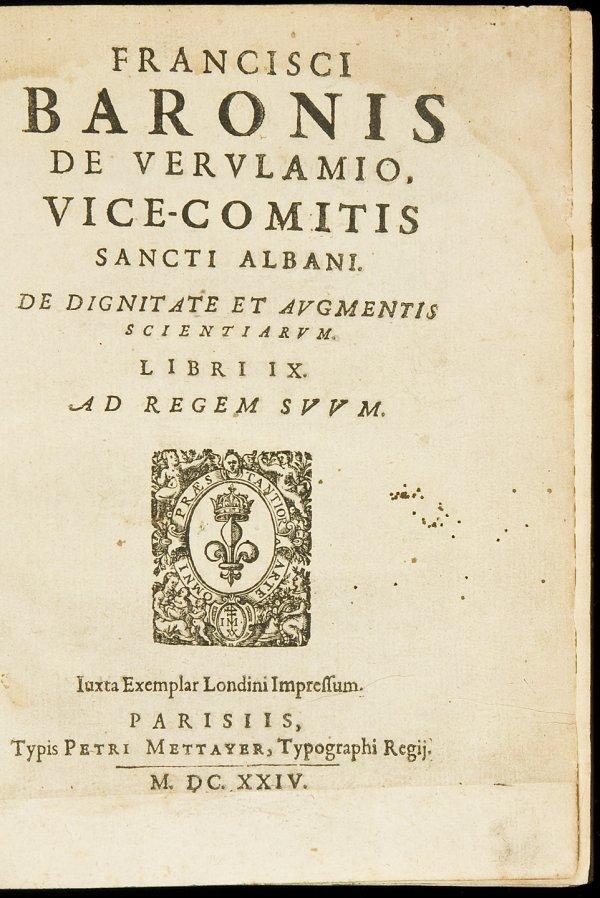 16: De Augmentis Scientiarum Libri IX by Bacon 1624