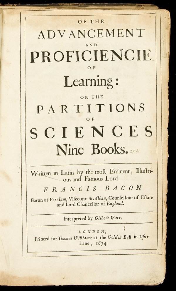 17: Bacon's Proficiencie of Learning 1674