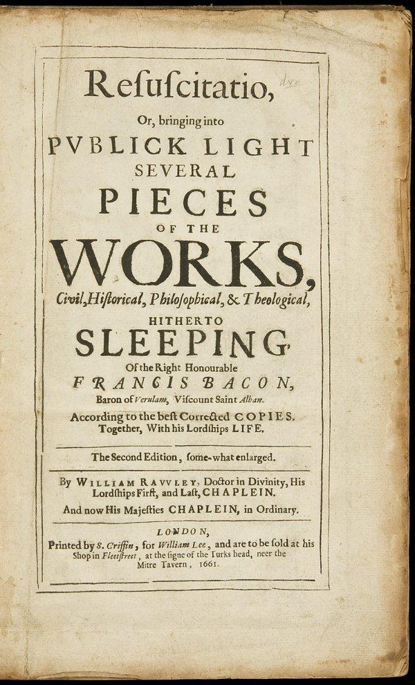 19: Resuscitatio by Francis Bacon 2nd ed 1661