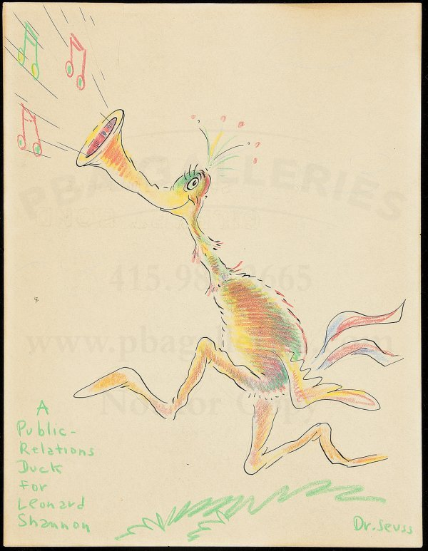 1: ink drawing by Dr. Seuss w/color pencilling