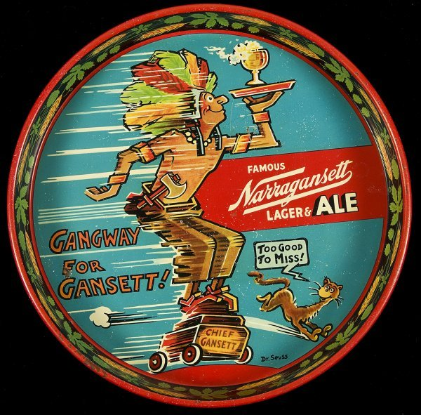 10: Dr. Seuss illus. Narragansett beer tray c.1930