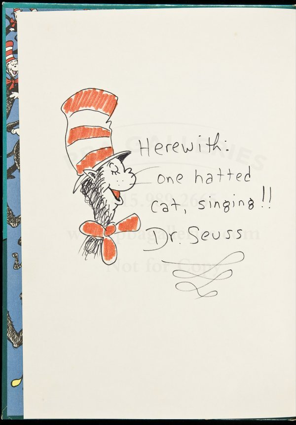 21: Cat in the Hat song book w/Dr. Seuss orig drawing