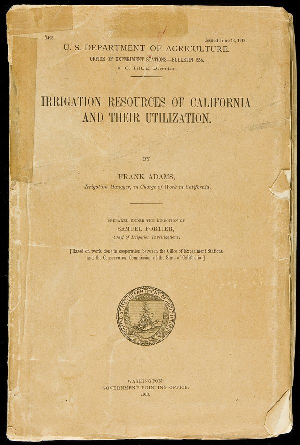 2: Irrigation resources of CA by Frank Adams 1913