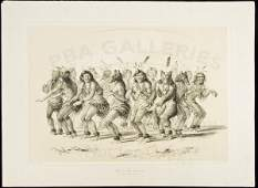 413 Bear Dance lithograph by George Catlin