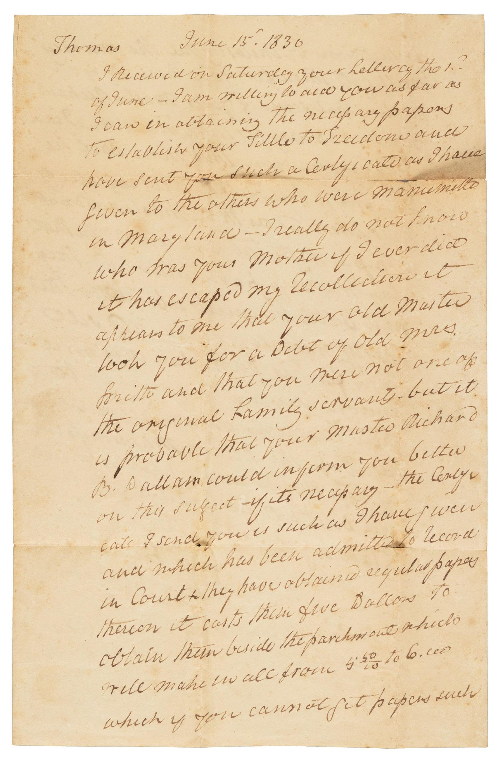 1830 Letter, Kentucky grandee to ex-slave