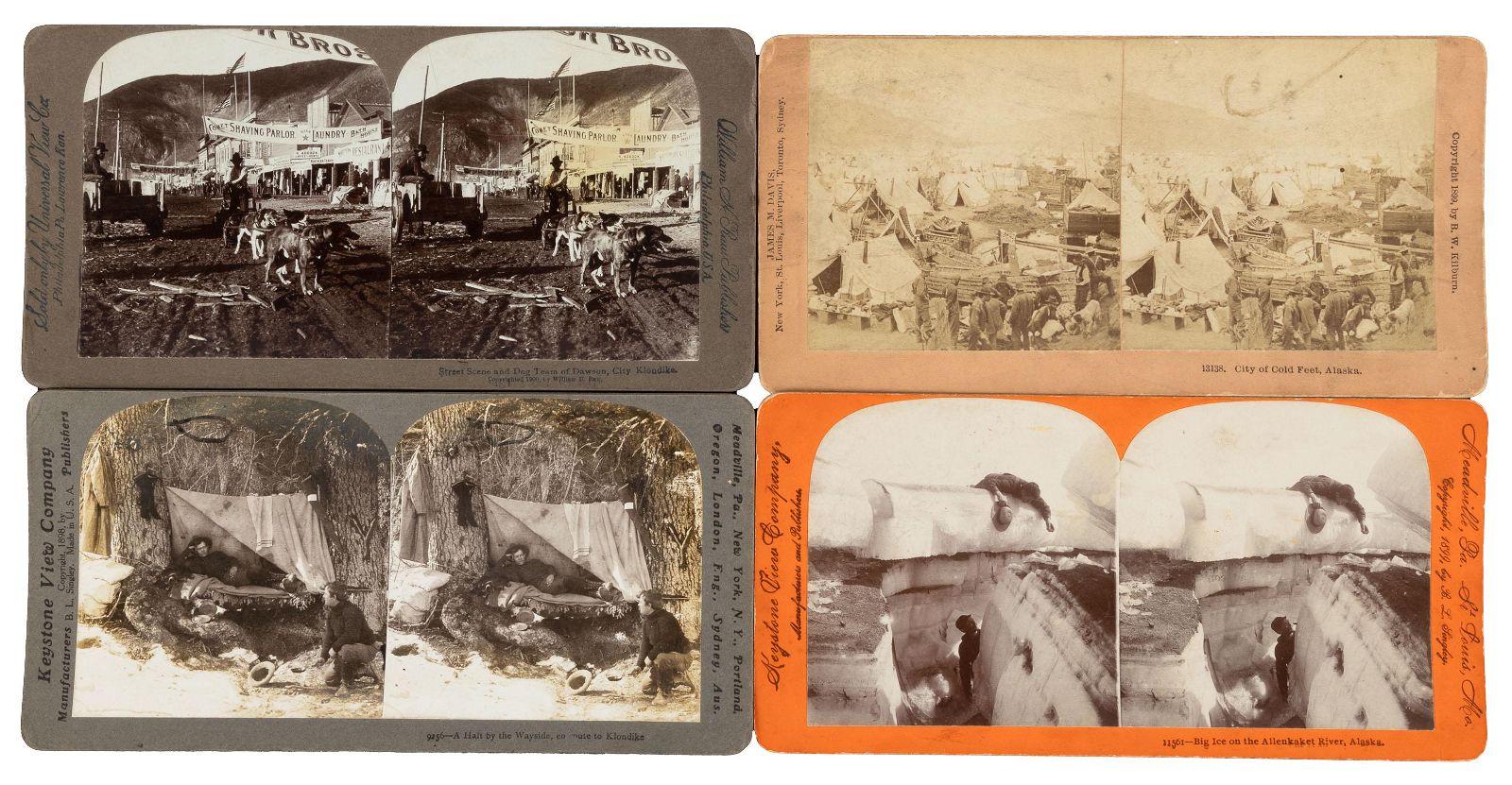 10 stereoviews depicting the Alaska Gold Rush