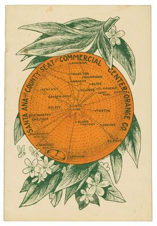 Orange county map in form of an orange