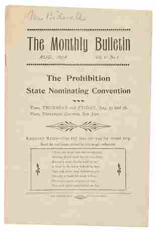 Mrs. Bidwell's copy of Prohibitionist monthly