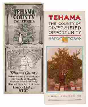 Scarce Tehama CA brochures, 1 with color relief map