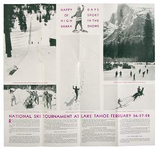 Rare brochure for Lake Tahoe winter sports, 1932