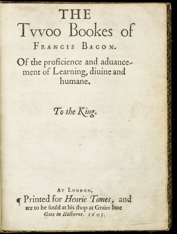 3: Francis Bacon's Twoo Bookes 1605