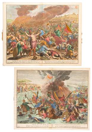 Large hand-colored engravings from Dutch Bible c.1705