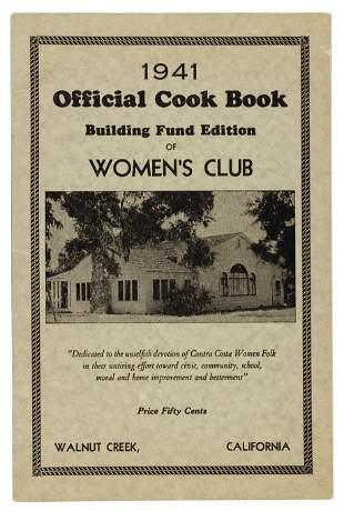 Cook Book Women's Club Walnut Creek 1941