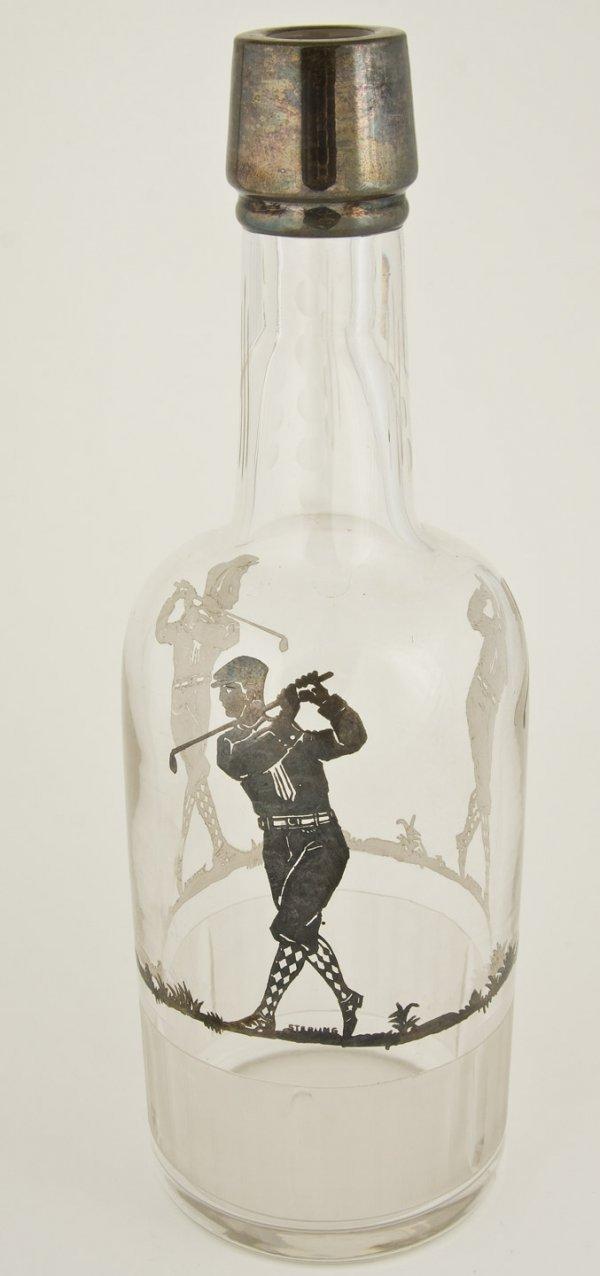 7: after shave bottlw w/sterling silver golfer c1920