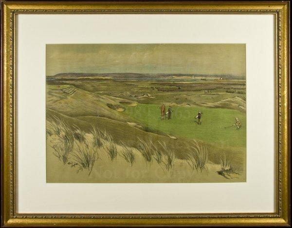 8: Westward Ho! 6th green Cecil Aldin litho c.1920