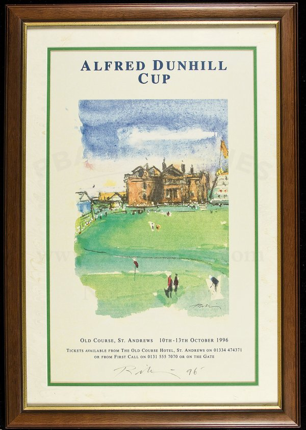 9: Alfred Dunhill Cup 1996 poster sgnd by artist