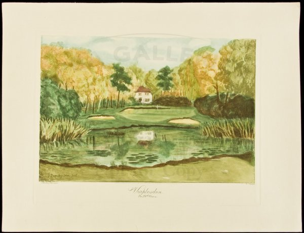 13: 3 golf course color etchings published 1954
