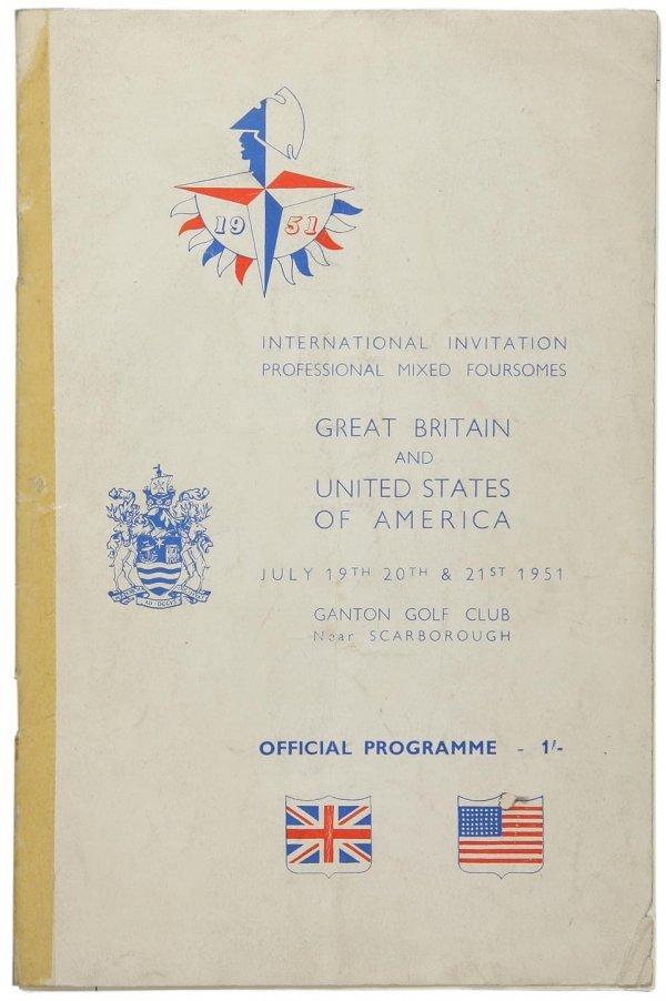 17: 1951 Int'l Mixed Foursomes program - 7 autographs