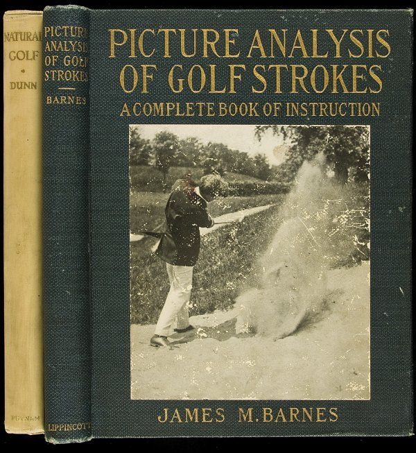 22: 2 large photograph golf instruction volumes 1919