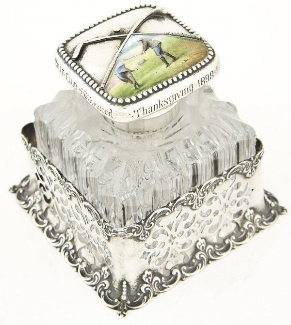 129: glass ink well, silver base & top by Gorham 1890