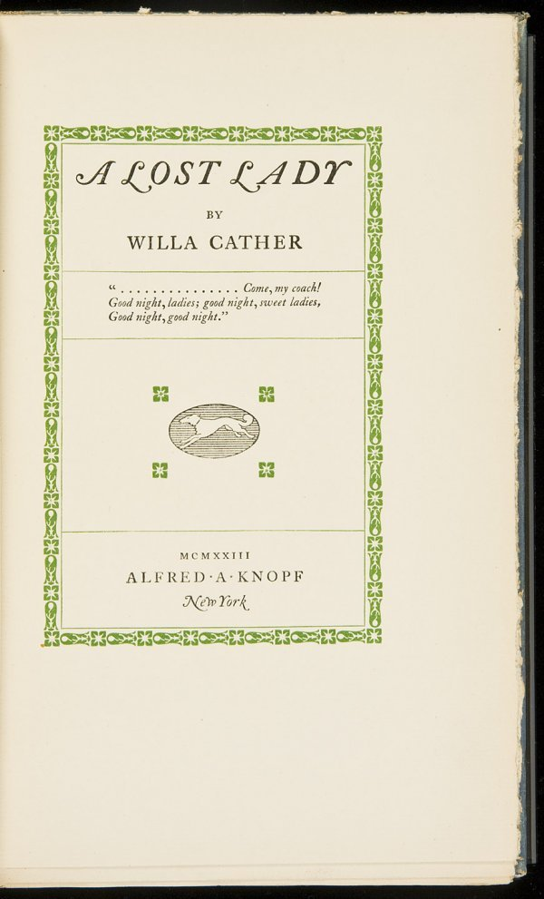 22: Willa Cather A Lost Lady Signed Limited Edition