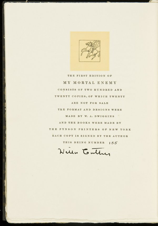24: Willa Cather My Mortal Enemy Ltd Edn Signed
