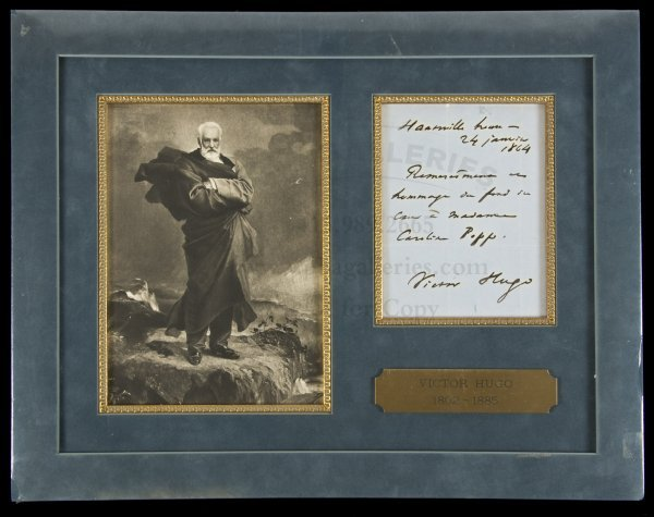74: Autograph note signed by Victor Hugo 1864