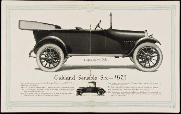 19: Oakland Sensible Six auto brochure