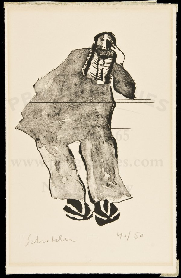 333: litho Tired Indian by Fritz Scholder 1/50 1971
