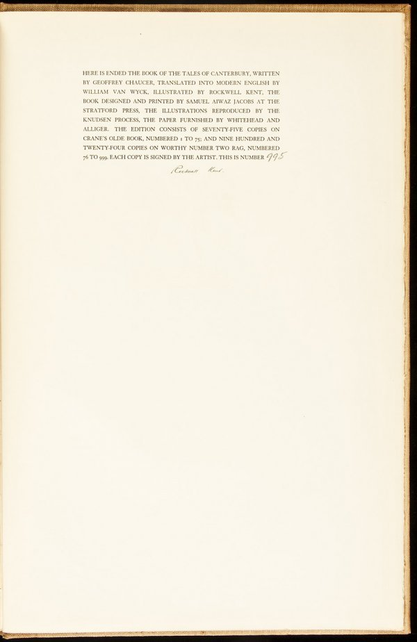 16: Canterbury Tales signed by illust. Rockwell Kent