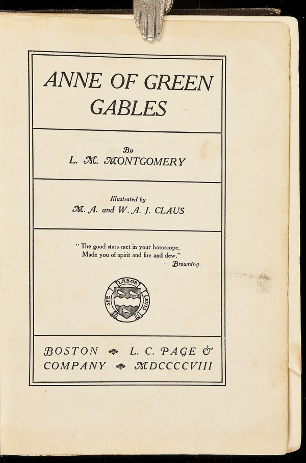 20: Anne of Green Gables First Edition