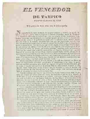 Santa Anna, Hero of Tampico, 1834 flyer