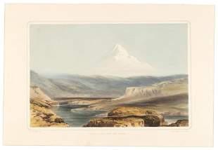 Henry Warre colored litho of Mt. Hood 1848