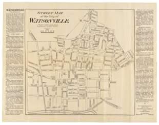 Rare street map of Watsonville, Cal., c.1930