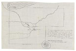 Hand-drawn map of Colorado Salt Works, signed