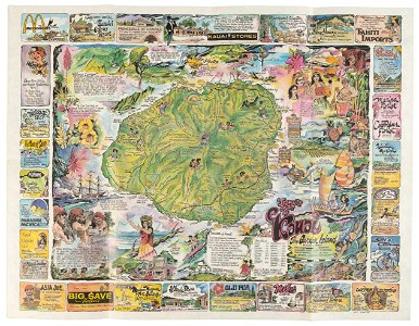 Stunning pictorial map of Kauai, Hawaii